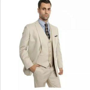 NWT Tazio Tan Slim Fit 3-Piece Suit: Size 38S/32